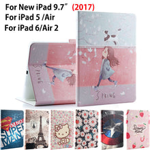 Fashion painted Case Cover For Apple New iPad 9.7 2017 A1822 A1823 Funda cases For iPad Air 1 2 iPad 5 6 PU Leather Stand Shell - leathernbags