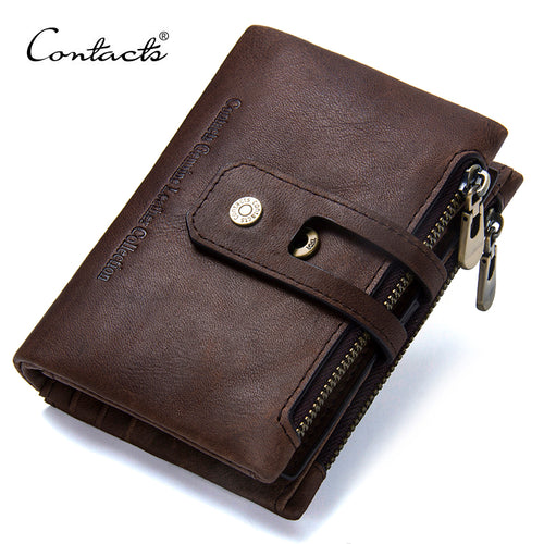 CONTACT'S 2017 Autumn New Arrival Genuine Leather Men's Wallet For Men Small Zipper Organizer Wallets Cash Carteira For Rfid - leathernbags