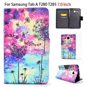 2016 Tab a6 7.0 Case For Samsung Galaxy Tab A 7.0 T280 T285 SM-T280 Case Smart Sleep Cover Tablet Print Flip Leather Funda Shell