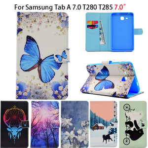 2016 Tab a6 7.0 Case For Samsung Galaxy Tab A 7.0 T280 T285 SM-T280 Case Cover Funda Tablet Fashion Cartoon Leather Flip Shell