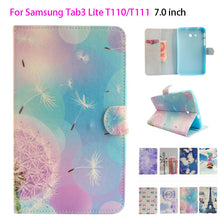 Fashion Painted Flip Leather Funda Case For Samsung Galaxy Tab 3 Lite 7.0 T110 T111 T115 High Quality tablet Card Slots Shell - leathernbags