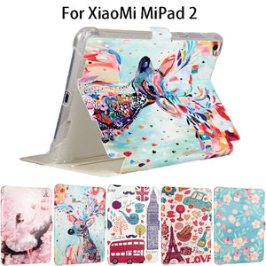 "Fashion Painted Silicone Leather Funda Case For Xiaomi Mipad 2 Mipad 3 Mipad3 mipad2 7.9"" Smart Cases Cover Tablet Flip shell"