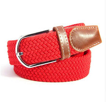 Men Women's Canvas Plain Webbing Metal Buckle Woven Stretch Waist Belt - leathernbags