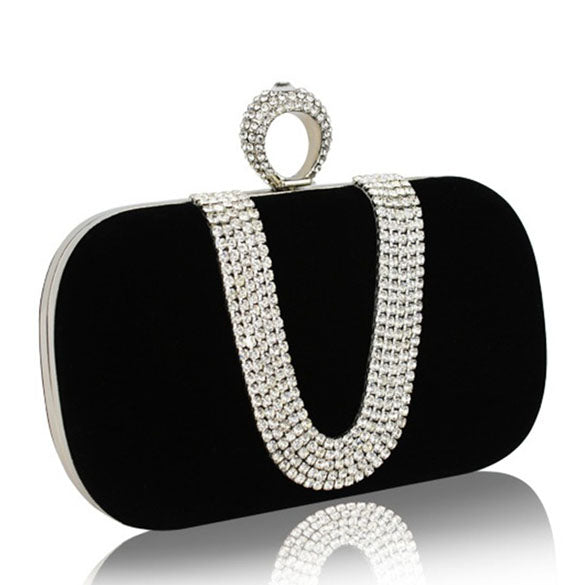 Diamonds Finger Ring Evening Bags Rhinestones Women Clutch Bags Handbag Crystal Wedding Bridal Handbags Purse Bags New Arrival - leathernbags