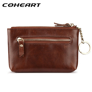 COHEART Genuine leather wallet men zipper coin pocket card wallet cowhide small purse coin pocket money bag top quality ! - leathernbags