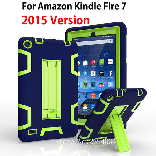 Kindle Fire 7 Case  Kids Safe Armor Shockproof Heavy Duty Silicone PC Tablet Stand Case Cover For Amazon Kindle Fire 7 inch