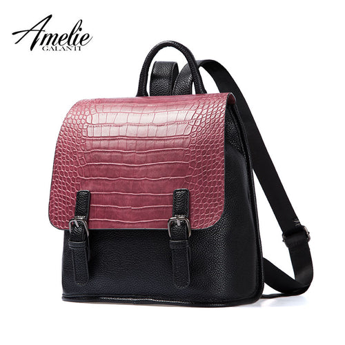 AMELIE GALANTI Ladies Fashion Leisure Backpack Color Matching Crocodile Grain PU Simple And Small Styles of Young People 2017 - leathernbags