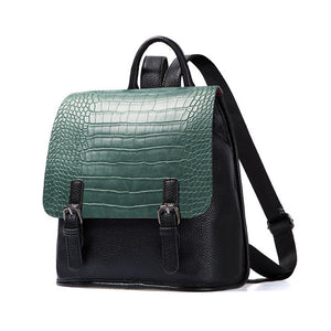AMELIE GALANTI Ladies Fashion Leisure Backpack Color Matching Crocodile Grain PU Simple And Small Styles of Young People - leathernbags