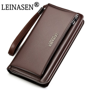 Genuine Leather Men bag Business Style Zipper & Hasp Designer Wallet Purses For men Clutch Bag Man wallets Handbag - leathernbags