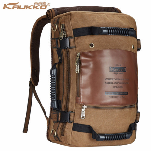 Kaukko Men Backpack Canvas Huge Travel School Shoulder Computer Backpacking Functional Versatile Bags Multifunctional Laptop Bag - leathernbags