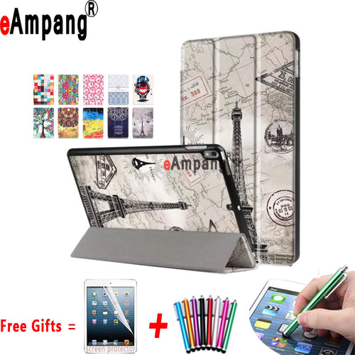 Painted PU Leather Cover For Apple iPad Pro 10.5 Case Trifold Magnet Sleep-Awake Case for iPad Pro 10.5 With Stand Holder - leathernbags