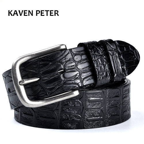 Cowskin Belt Crocodile Pattern Luxury Designer Belts Men High Quality 100% Genuine Leather Ancient Silver Metal Buckle - leathernbags