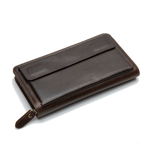 MVA Genuine Leather Wallets Phone Men's Leather Wallets Long Wallet Clutch Male Purse Money Clip Wallet Fashion Cash Carteira - leathernbags