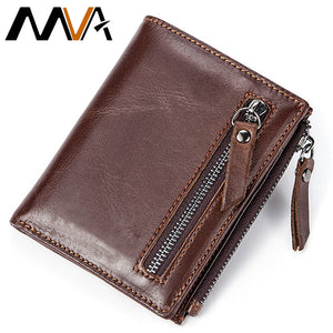 MVA Men Wallets Male Purse Genuine Leather Wallet with Coin Pocket Zipper Short Credit Card Holder Wallets Men Leather Wallet - leathernbags