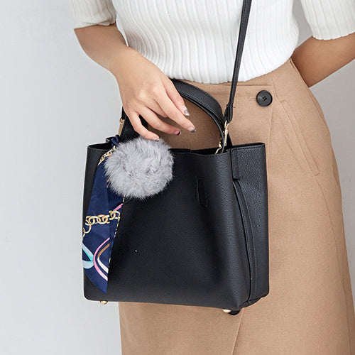 Bolish Litchi Pattern Soft PU Leather Women Handbag Two Pieces Female Shoulder Bag Girls Messenger bag Casual Women Bag - leathernbags