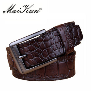 New Crocodile Skin Printed Belts for Man Women Vintage Belt for Men Luxury Genuine Leather Men Belt Brand Design Strap - leathernbags