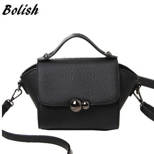 Bolish New Spring And Summer Women Bags Gourd Lock Button Portable Small Top-Handle Bags Women Shoulder Bag - leathernbags