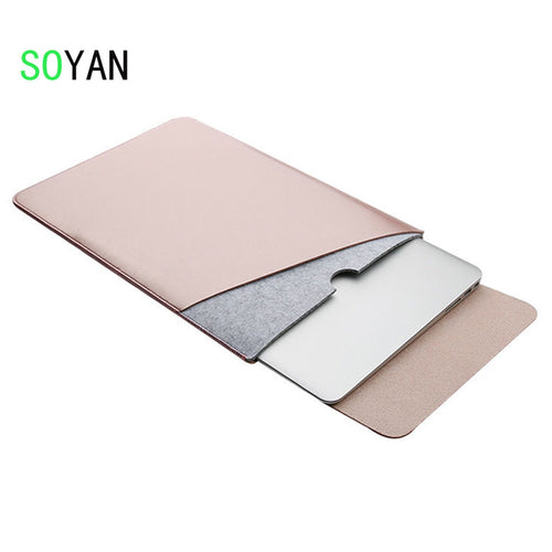 Laptop bag case Soft Leather Sleeve for MacBook Pro Retina & Air 11 13 15 Dual Pocket  with Safe Interior and Exterior Mouse Pad - leathernbags