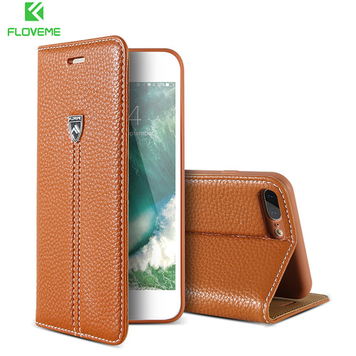 FLOVEME Luxury Magnetic Flip Genuine Leather Case For iPhone 6 6S 8 Card Slot Wallet Cover Bag For iPhone 7 6 6s Plus 7 8 Plus - leathernbags