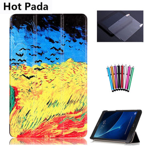 Hot Pada T580 T585 Case for samsung galaxy tab A 10.1 SM-T580 SM-T585 10.1'' tablet smart PU leather print case+screen protector - leathernbags
