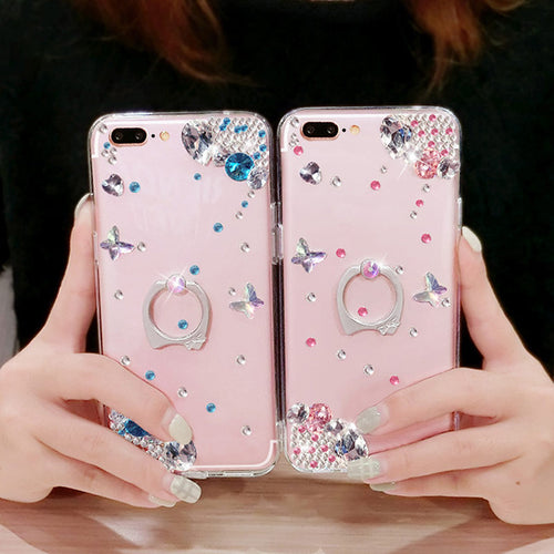 Diamond Soft Silicone Case for IPhone7 IPhone 7 8 Plus Case TPU Phone Back Finger Ring Deluxe Women Cover Cases