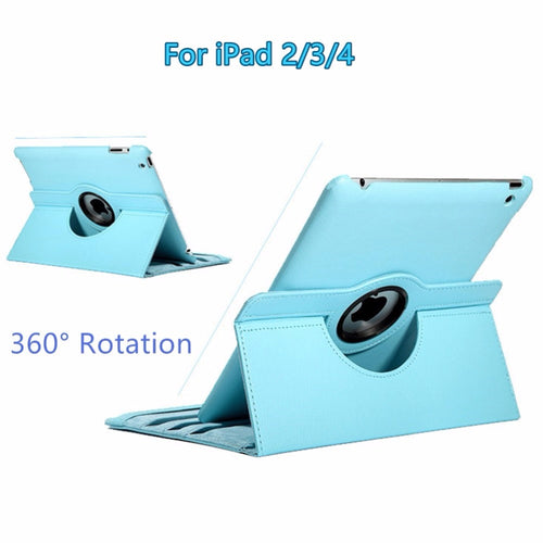 For Apple iPad 2/3/4 9.7 inch 360-Degree Rotating PU Leather Multi-angle Stand Folio Cover Case with Auto Sleep / Wake Feature - leathernbags