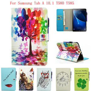 Fashion Case For Samsung Galaxy Tab A a6 10.1 2016 T580 T585 SM-T585 Case Cover Tablet Cartoon Print TPU+PU Leather Shell Funda - leathernbags