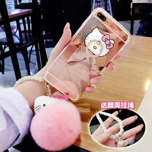 Luxury Mirror Capa Fake Rabbit Fur Ball for IPhone 7 8 Case for Iphone7 8 Plus Cover Fashion Women Metal Ring Holder Phone Cases