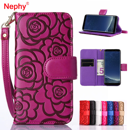 Nephy Camellia Flower Leather Case For iPhone 6 6S 7 8 Plus 5 5S SE Coque Capa For Samsung Galaxy S8 Plus S6 S7 Edge Phone Cover - leathernbags