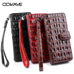 OCWAVE Wallet leather case for Google Pixel 2 XL Luxury Crocodile pattern design cards slot hand strap fashion covers - leathernbags