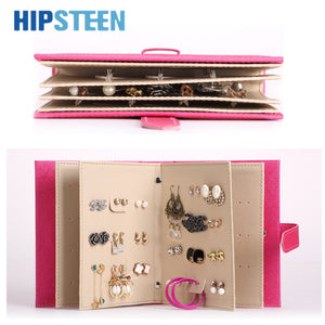 HIPSTEEN Earrings Collection Books Style Jewel Case PU Leather Stud Book Pattern Portable Women Jewelry Display Storage Box - leathernbags