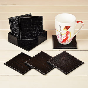 6pcs/lot Restaurant desk wooden CUP Mats Tea Coasters with Faux Leather Cover for Coffee Bowl Placemat with Holder - leathernbags