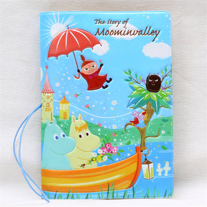 14*9.6cm Moomin Valley Cartoon Passport Holders Travel Passport Covers PVC Leather 3D Stereo Design Passport Cases with String - leathernbags