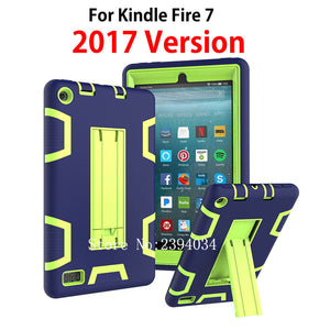 "Cover For Amazon All-New Fire 7 Tablet with Alexa 7"" Case Kids Safe Armor Shockproof Heavy Duty Silicone PC Stand Case"