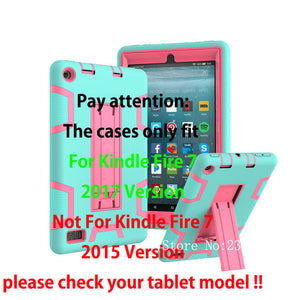 "Cover For Amazon All-New Fire 7 Tablet with Alexa 7"" Case Kids Safe Armor Shockproof Heavy Duty Silicone PC Stand Case - leathernbags"