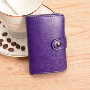 COHEART Automatic Card Wallet split leather Men Women Unisex Metal business card box metal purse small promotion !!! - leathernbags