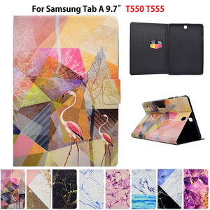 Marble Pattern Case For Samsung Galaxy tab A 9.7 T550 SM-T555 P550 P555 Case Smart Cover Funda Tablet PU Leather Stand Skin |  USA I USA