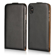For iPhone X Case Black Vertical Flip Genuine Split Leather Mobile Phone Case for iPhone X / 10 5.8 inch - leathernbags