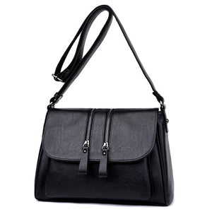 Double Zipper Shoulder Crossbody Bags For Women Luxury Designer Handbags High Quality Pu Leather Bolsas Feminina Messenger Bags - leathernbags
