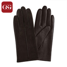 GSG Women Winter Leather Gloves Mittens Knitted Lined Driving Gloves Handmade Warm Ladies Fashion Touch Screen Gloves Black - leathernbags