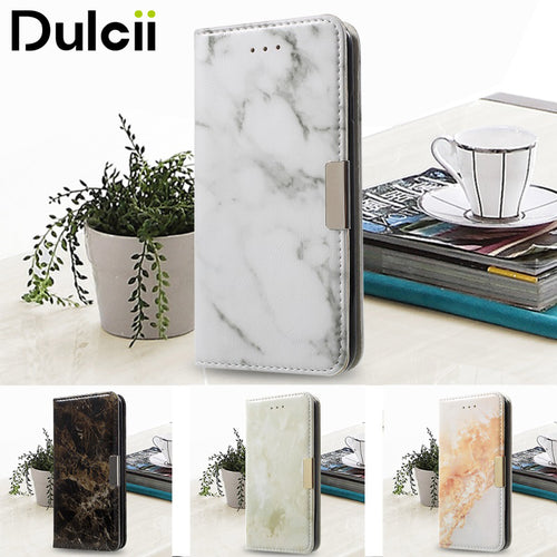 DULCII for Apple iPhone 6 Case for iPhone 6s Case Marble Texture Leather Wallet Flip Phone Cover for Case iPhone 6s Shells Capas