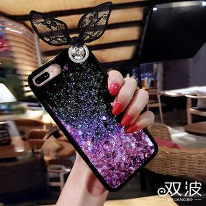 For Apple IPhone 7 8 Cover Luxury Metal Ring Holder Soft TPU Phone Cases Cute Women Diamond for IPhone 6S 7 8 Plus 6 Cover Case - leathernbags