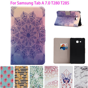 "2016 For Samsung Tab a6 7"" Case Printed PU Leather Cover For Samsung Galaxy Tab A 7.0 T280 T285 Cases Tablet Stand Capa Funda"