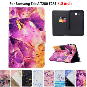 "Marble Pattern Case For Samsung Galaxy Tab A A6 7.0"" 2016 T280 T285 SM-T280 Case Smart Cover Funda Tablet PU Leather Stand Shell"