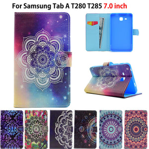 2016 Tab a6 7.0 Case For Samsung Galaxy Tab A 7.0 T280 T285 SM-T285 Case Cover Funda Tablet Painted Silicon PU Leather Shell
