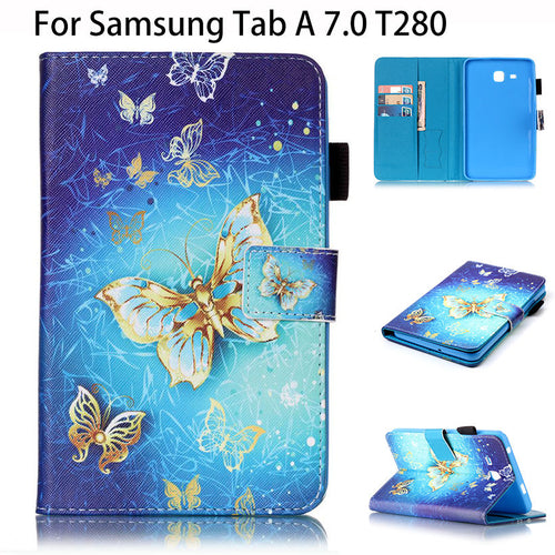 Painted PU Leather Case For Samsung Galaxy Tab A a6 7.0 T280 T285 SM-T280 Cases Cover Tablet Flip Fashion Butterfly Funda Shell