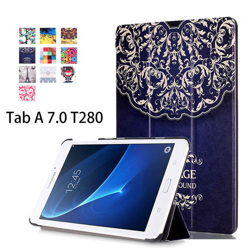 2016 Flip Leather Case For Samsung Galaxy Tab A a6 7.0 T280 T285 SM-T280 SM-T285 Cases Cover Tablet Funda Business Painted Shell