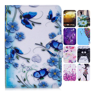 Misolcat for Samsung Galaxy Tab A 7.0 2016 T280 Case Stand Flip Cover Tablet Capa PU Leather Magnet Funda Cartoon Girl Flower - leathernbags