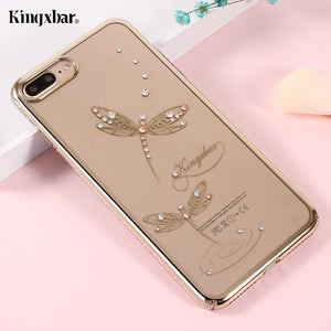 KINGXBAR for Apple iPhone 8 Plus hoesje , 7 Plus Case Luxury Diamond Decorated Hard Phone Cover Funda for i7 i8 Plus Shells Bag