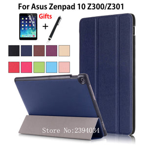 "For ASUS Zenpad 10 Z301MLF Z301ML Z301 10.1"" Smart Case Cover Funda Stand Tablet For Asus Zenpad 10 Z300CL Z300C Z300m +Film+Pen - leathernbags"